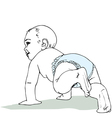 Crawling baby boy in diaper vector image