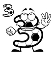 Cute number 3 with a soccer ball pattern vector image vector image