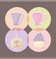 delicious cupcake with set icons vector image vector image