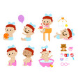 different baby poses and accesories vector image vector image
