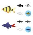 different types of fish cartoonblackflat vector image vector image