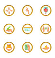 donate icons set cartoon style vector image vector image