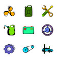 driving icons set cartoon style vector image