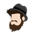 faceless man head with facial hair and hat icon vector image