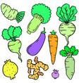 fresh vegetable set of doodles vector image vector image