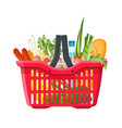 full shopping basket market food and products vector image vector image
