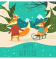 Funny foxes sledding vector image vector image