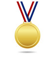 gold medal with ribbon trophy winner award vector image