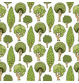 hand drawn seamless pattern with green doodle vector image vector image