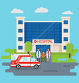hospital building in flat style with two doctors vector image