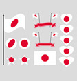 japan flag set collection of symbols flag vector image vector image