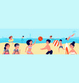 kids beach vacations children swimming playing vector image vector image