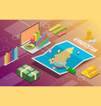 kyrgyzstan isometric business economy growth vector image