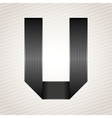 Letter metal ribbon - U vector image