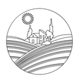 Lodge with vineyards icon in outline style vector image