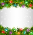 Multicolored Christmas lights on pine branches on vector image vector image