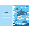 Paper design with shark in water vector image vector image