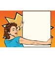 pop art woman holding a poster vector image vector image