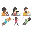 set of families and business characters vector image