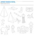 Set of Japanese Bon Festival attributes vector image