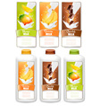 Set of three labels of fruit in milk splashes and vector image vector image