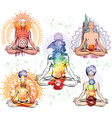 Sketch of man in meditating and doing yoga poses vector image vector image