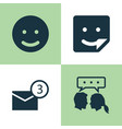 social icons set collection of chat smile vector image vector image