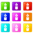 spray deodorant icons set 9 color collection vector image vector image