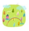 summer house field and trees kids landscape vector image vector image