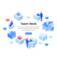 teamwork team building isometric landing page vector image
