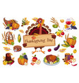 turkey for thanksgiving day holding wooden vector image vector image