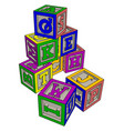 various colorful toy blocks on white background vector image vector image