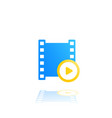 video logo with play symbol and film strip vector image