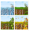 vineyard different season set collection vector image vector image