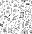 wine sketch seamless pattern vector image vector image