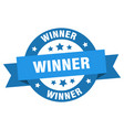 winner ribbon winner round blue sign winner vector image vector image