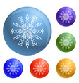 winter snowflake icons set vector image