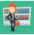 Woman with pack of beer at supermarket vector image vector image
