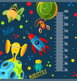funky monsters with a rockets and planets in space vector image