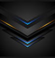 abstract black arrows with blue orange glowing vector image vector image