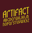 artifact alphabet ancient style font isolated vector image