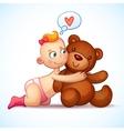 Baby girl redhead hugs Teddy Bear toy on a white vector image