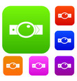 belt with oval shaped buckle set color collection vector image vector image