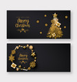 black and golden merry christmas banner background vector image vector image