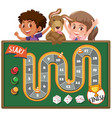 boardgame with kids and dog in background vector image vector image