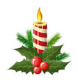 burning candle holly leaves and red berries vector image