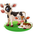 cartoon cow with newborn calf vector image vector image