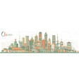 china city skyline with color buildings famous vector image vector image