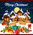 christmas snow on town night scene vector image