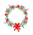 Christmas Wreath of Christmas Balls and Red Bows vector image vector image
